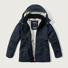 Abercrombie & Fitch All-Season Sherpa Weather Warrior Parka ($126) ❤ liked on Polyvore featuring outerwear, coats, navy, water resistant coat, blue coat, abercrombie & fitch, fleece lined parka and blue parka
