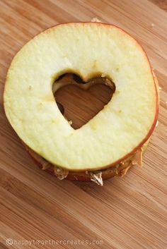 Heart-shaped apple/peanut butter sandwich!