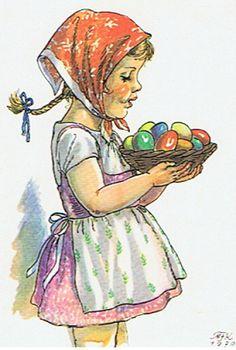 Jakub Schikaneder, April Easter, Aqua Color, Book Authors, Vintage Pictures, Landscape Paintings, Easter Eggs, Childrens Books, Disney Characters