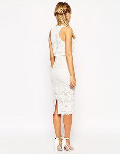 Imagen 2 de Vestido de tubo a media pierna de encaje con top corto de ASOS
