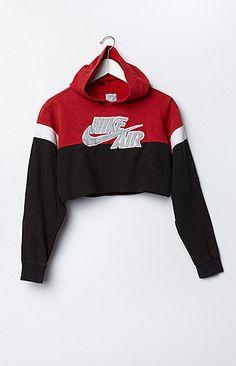 Retro Gold Vintage Nike Colorblock Cropped Hoodie Fleece Sweatshirt at PacSun.com