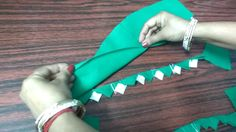 Easy way to make triangle design on sleeves, neck and border.