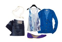 this outfit.-I love the contrast of the blue tops and the purple shoes!