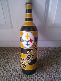 Pittsburgh Steelers hand painted wine bottle by BottleyFunctions, $40.00