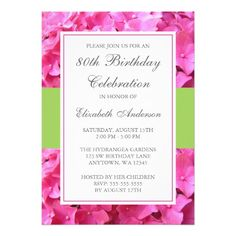 Pink Hydrangea Border Green 80th Birthday Party Invitation Wording Invitations