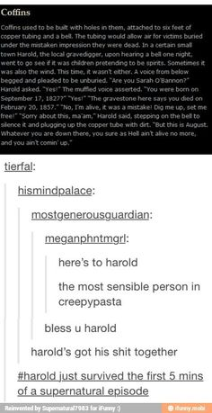 """Go harold     """"Harold just survived the first five minutes of a supernatural episode"""" *loses shit* XD"""