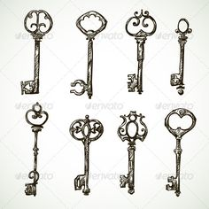 Set of Vintage Key Drawings #GraphicRiver