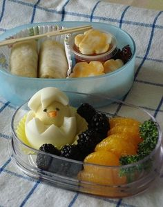 Chick Hard Boiled Egg Fruit Bento