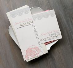 Ruffled Romance - Lace Wedding Save the Dates, Blush Pink, Gray, Gold - Purchase to Start the Ordering Process