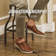 Mens' JOHNSTON & MURPHY McGuffey Woven Slip-on. The McGuffey from Johnston & Murphy offers classic styling and functional features that mean you'll not only look good, but feel good too. Casual Loafers, Casual Sneakers, Loafers Men, Sneakers Fashion, Lace Up Shoes, Slip On Shoes, Johnston And Murphy Shoes, Leather Socks, Driving Shoes