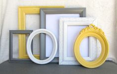Yellow, Grey White Ornate Picture Frames with GLASS set of 6 - Upcycled Frames Modern Cottage Chic Shabby Bedroom Decor Wedding Gift