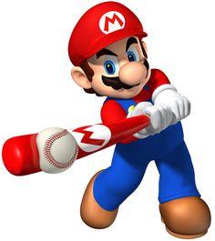 mario playing baseball