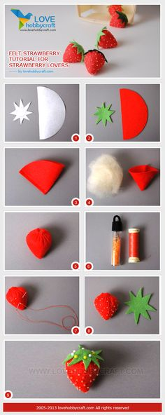 Felt strawberry tutorial for strawberry lovers