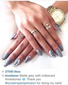Matte gray nails with rhinestones from @Liane Valenzuela Instagram