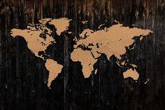dodatki - plakaty, ilustracje, obrazy - inne-Korkowa mapa świata
