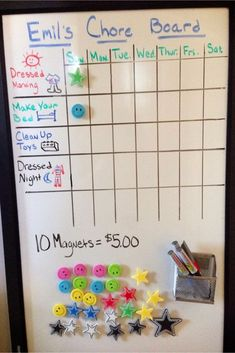 Brilliant DIY chore chart idea using a dry erase board and magnets - notice the reward is clear
