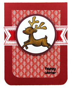 Lawn Fawn - Critters in the Snow, Winter Gifts, Tag You're It Lawn Cuts, Fa La La paper _ cute banner using Winter Gifts and Tag, You're It on this sweet card by Amanda _ Happy-Winter-Reindeer-DS129-web | Flickr - Photo Sharing!