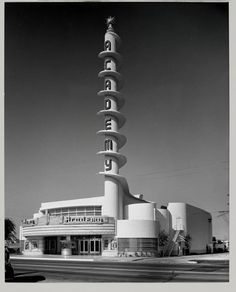 An Art Deco movie Theater made for black-and-white photography! ARTIST: Julius ShulmanTITLE: Academy Theater, Los Angeles, CA(S. Charles Lee, architect)DATE: recent gelatin silver printSIZE: h: 40 x w: 30 in Drive In, Art Nouveau, Amazing Architecture, Art And Architecture, Google Architecture, Vernacular Architecture, Commercial Architecture, Contemporary Architecture, John Lautner