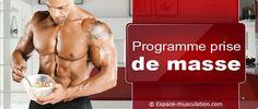 Programme de nutrition prise de masse Nutrition Sportive, Conseils pour prendre du poids, prise de masse  #nutrition #food #health #diététique #musculation