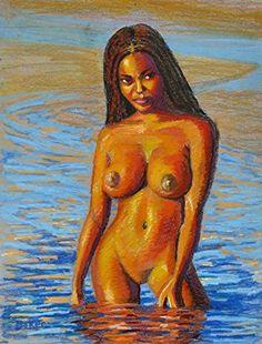"Nude Naked Black Girl Woman Original Art Oil Pastel Lou Baker Deserea. 18 by 24"" original art , oil pastel."