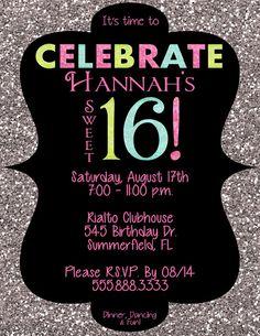 PRINTABLE Sweet 16 Sparkle Invitation PDF or by AllisonHopeDesigns, $12.00