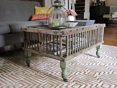 Old Chicken crate into a coffee table