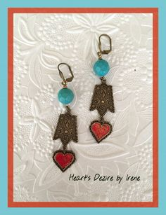 11/8/15 Earring Challenge Sunday. Earrings made with B'sue components, turquoise beads and iced enamels.  Heart's Dezire by Irene Hoffman