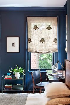 blair harris interior design - molding and window sashes all same color as wall + bee fabric.