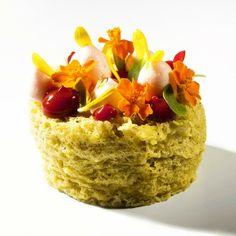 Pistachio Sponge cake filled with lemon cream, raspberry fluid gel, berries foam by Antonio Bachour