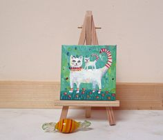 Original, acrylic painting on mini canvas of a Cat and Kitten by Maureen Mace. Ideal Valentines gift. Mini painting comes with own easel.