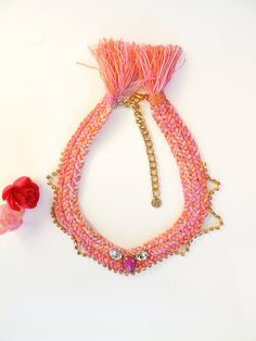 Pink braid necklace braided necklace choker by JewelryLanChe