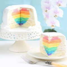 Mille Crepe Cake with Hidden Rainbow HeartReally nice recipes....