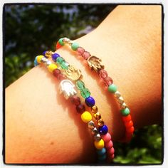 Mini hamsa hand glass bead mix bracelets - pick n mix your favourite colours and platings to make your own unique bracelet