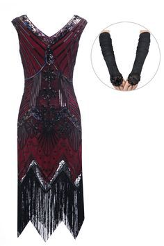Womens 1920s Sequin Dress Gatsby Art Deco/ Cocktail / Flapper Party Dresses with Fringed Hem(XL,burgundy-Q2)
