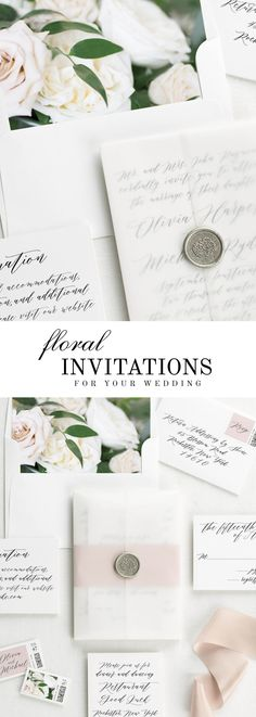 The Olivia wedding invitation suite is paired with Clara florals. Clara features sand dollar roses, white garden roses, and Italian ruscus.