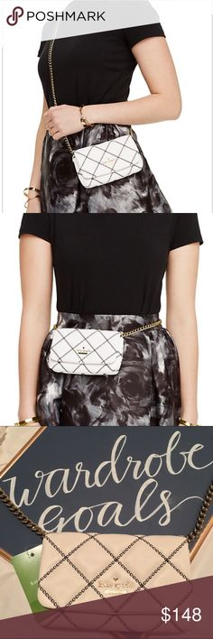 ♠️Kate Spade Emerson Place Crossbody How beautiful is this bag?!  You cannot go wrong with a black, white and gold color scheme!  Wear this as a cross body or even as a super trendy fanny pack!!  This bag is brand new and the gold chain strap is still covered by the wrapping from the Kate Spade store. kate spade Bags Crossbody Bags