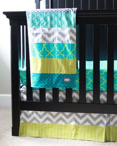 Custom baby bedding - Lime Green, Turquose, and Grey Baby Bedding