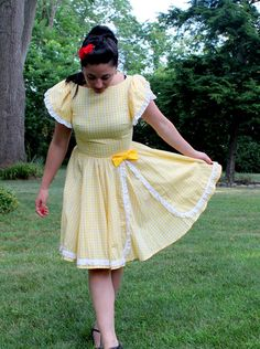 1960s Yellow Gingham Dress by DetroitDollface on Etsy
