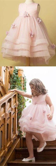 Light Pink Tulle Handmade Flower Little Girl Dresses, Cheap Flower Girl Dresses, FG071 #Sofiebridal #flowergirldresses