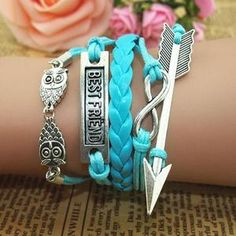 Cheap Cute Owl Arrow Best Friend Infinity Bracelet For Big Sale!Cute Owl Arrow Best Friend Infinity Bracelet is a perfect gift for her.it is handmade compiled. Cheap Bracelets, Cute Bracelets, Handmade Bracelets, Bracelets For Men, Fashion Bracelets, Bangles, Infinity Bracelets, Silver Bracelets, Silver Ring
