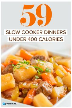 59 Healthy Slow Cooker Dinners Under 400 Calories. 59 of the best Weight Watcher meals. From chicken and beef to stews and casseroles - we've got your easy dinners covered! 59 Healthy Slow Cooker Dinners Under 400 Calories Healthy Slow Cooker, Slow Cooker Beef, Slow Cooker Recipes, Cooking Recipes, Healthy Recipes, Slow Cooking, Healthy Snacks, 400 Calorie Dinner, 400 Calorie Meals