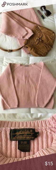 Baby Pink Knit Sweater Cozy Eddie Bauer Baby Pink knit sweater! Barely used, in excellent condition.  Size Large Eddie Bauer Sweaters