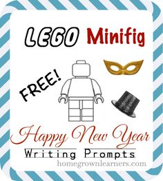 LEGO Minifig Happy New Year Writing Prompts -- FREE download! #legolearning