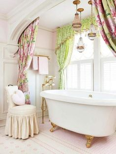 white-and-gold-clawfoot-bathtub bathroom design Feminine Bathroom Design Ideas to Inspiring Your New Oasis white and gold clawfoot bathtub