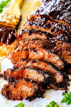 """Slow Cooker Beef Brisket with Barbecue Sauce (Video!) - Wonderfully juicy, flavor exploding, melt-in-your-mouth Slow Cooker Beef Brisket is """"better than - Beef Brisket Slow Cooker, Smoked Beef Brisket, Slow Cooker Bbq, Bbq Beef, Slow Cooker Recipes, Crockpot Recipes, Cooking Recipes, Pork Recipes, Crock Pot Brisket"""