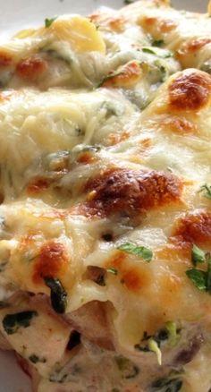Chicken, Spinach and Mushroom Pasta Bake