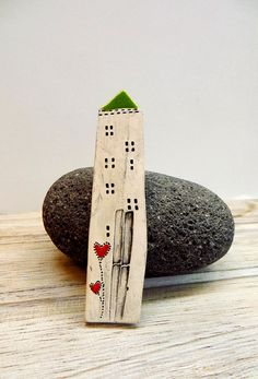 Happy House brooch with Hearts Little Ceramic house by GUDAR