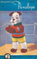 Penelope 308 - boxer dog toy - vintage knitting pattern
