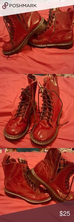 Red patent boots! Plaid inside. Never worn target Shoes Ankle Boots & Booties