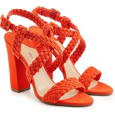 Paul Andrew Suede Sandals (€449) ❤ liked on Polyvore featuring shoes, sandals, heels, orange, woven shoes, orange suede shoes, ankle strap sandals, orange heels shoes and orange shoes